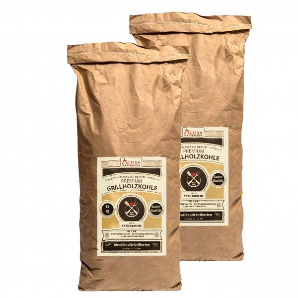 ACTIVA Premium Gastro Grillkohle 30 kg (2 x 15 kg) Buche Holzkohle Buchenholzkohle Grillholzkohle
