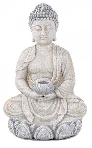 ACTIVA Buddha Figur mit Schale, Teelichthalter, 44 cm hoch, Gartendeko