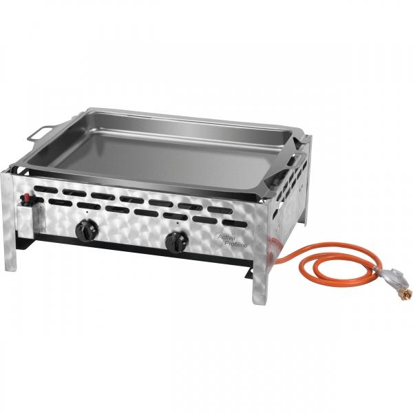 ACTIVA Grill 2-flammig Gastrobräter mit Stahlpfanne, Gasgrill