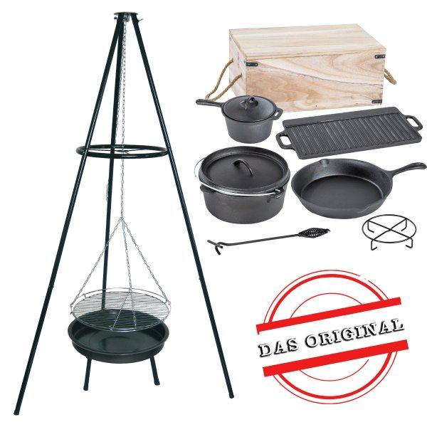 ACTIVA Schwenkgrill Grill Dutch Oven Set, Dreibein, Holzkiste, Topf, Pfanne, Grillrost, Gusseisen, G