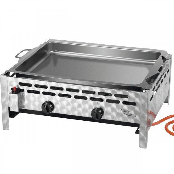 ACTIVA Grill 2-flammig Gastrobräter mit Stahlpfanne, Gasgrill, 1B Ware