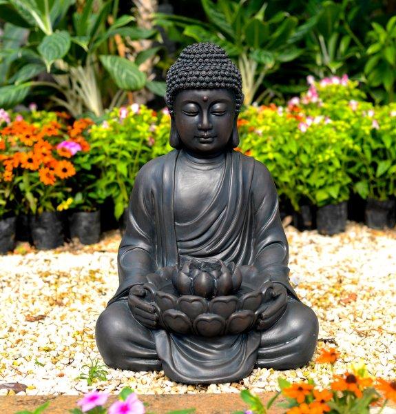 ACTIVA Buddha Brunnen Tantra ca. 50 cm Gartendeko Indoor Outdoor Brunnen